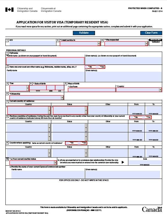 IMM5257申请表