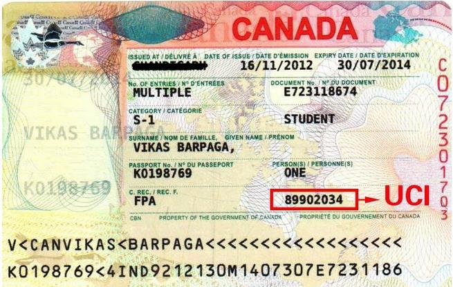 加拿大签证上的UCI
